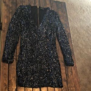 Black blue Venus mini sequence dress
